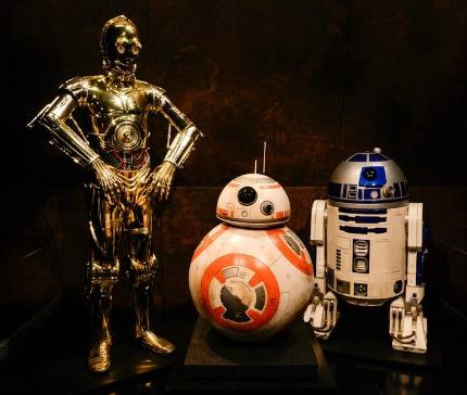 C3PO, R2D2 and BB-88 at Star Wars and the Power of Costume Exhibit