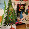 The walls are adorned with blown-up pages from Dr. Seuss' iconic holiday story