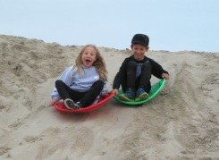 Sand Sledding - Winter Fun on the Sand Berms at Venice Beach