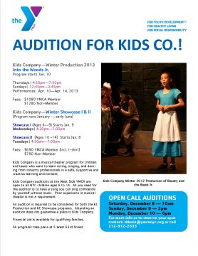 "Kids Company Auditions for Winter Production  ""Into The Woods Jr."""