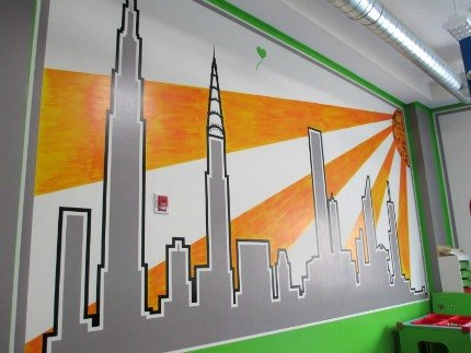 Beautiful skyline mural at Sensory City