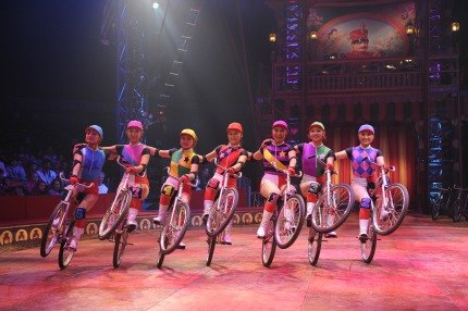 Super cyclists of the Big Apple Circus' Dalian Troupe. Photo courtesy of the Big Apple Circus