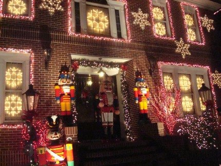 One of the more subdued Dyker Heights displays. Really.