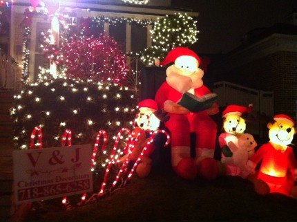 Many of the homes in Dyker Heights are decked out by professionals <br/>like V&J Christmas Decorators