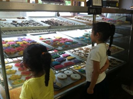 Eyeing the treats at the Bakery at Four Corners
