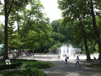 Awesome sprinkler action right outside the Anne Loftus Playground in<br /> Fort Tryon Park