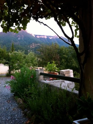 The view from our home swap house of the mountains around Digne