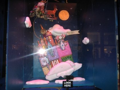 An animated Santa at at Bloomingdale's