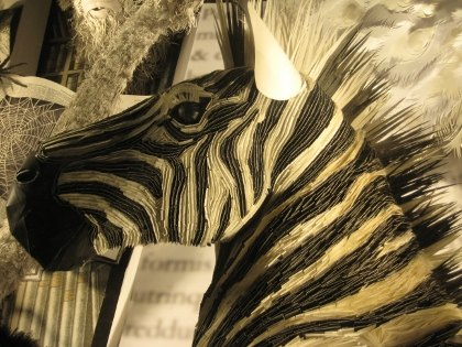 An amazing paper zebra at Bergdorf Goodman