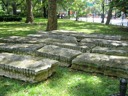 Common Ground in City Hall Park: These stone slabs are inscribed with quotations from a French revolutionary leader