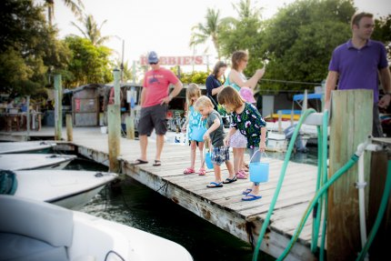 Feeding the tarpon at Robbie's Marina.