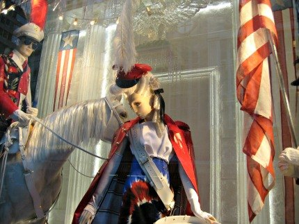 Bergdorf Goodman's windows depict non-December holidays like the Fourth of July...