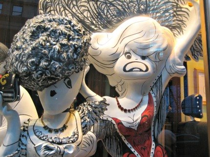Bernadette Peters and Carol Channing in Bendel's windows