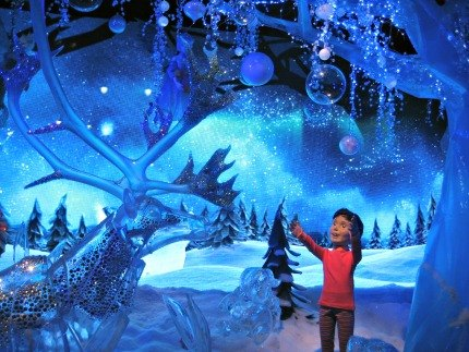Macy's windows depict a child's imaginary winter wonderland