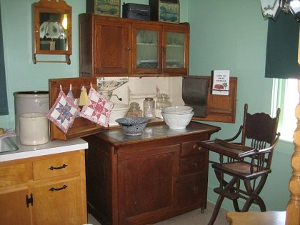 A contemporary kitchen on view at the Amish Village