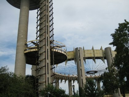 The New York State pavilion towers from the 1964 World's Fair