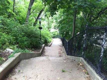 Are you a stair master? Be prepared to climb several flights access<br /> Isham Park, which sits atop a hill