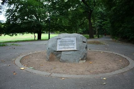 Shorakkopoch Rock commemorates the alledged spot where Native<br /> Americans sold Manhattan to Peter Minuit