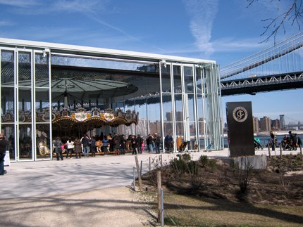 Jane's Carousel, which is housed in a beautiful pavilion in Brooklyn Bridge Park