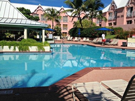The pool at the Comfort Suites Paradise Island is perfect for relaxing after a busy day at Atlantis.