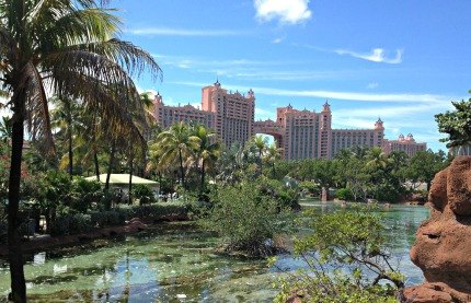 The iconic Royal Towers of Atlantis Paradise Island dominate the landscape.