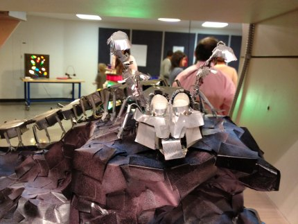 Awesome robot made from recycled material and LED lights