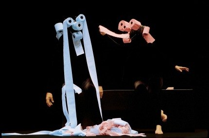 Kids can't stop giggling at the troupe's hilarious toilet paper creatures