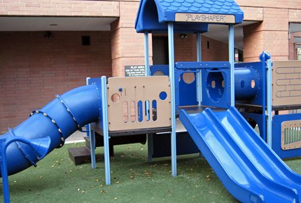The traditional playset at Silver Towers Playground