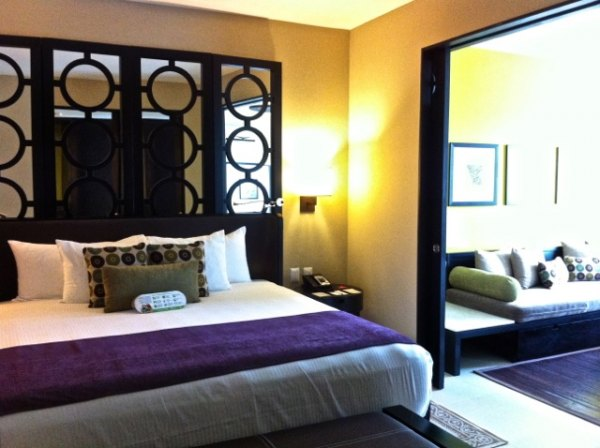 Close the sliding doors to create a private bedroom