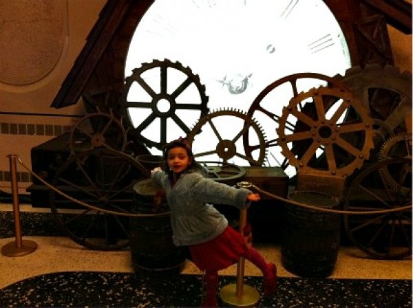 Posing with set pieces in the lobby