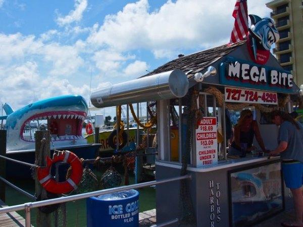 Mega Bite dolphin cruise ship is shaped like a shark