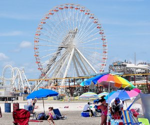 View of the boardwalk from Wildwoods free beaches