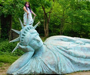 Hunting down pop-up public art displays is one of our favorite free things to do in NYC. Zaq Landsberg's Reclining Liberty is on display in Morningside Park  through April 2022.