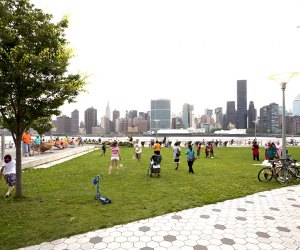 Enjoy the stunning views from Gantry Plaza in Long Island City. Photo by Will Steacy for NYCGo