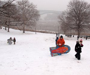 Inwood Hill Park's sledding hill offers a beautiful view