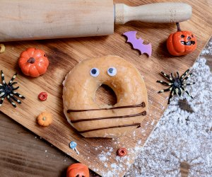 It's easy to make a spookily fun breakfast by adding eyes or creepy critters to donuts.