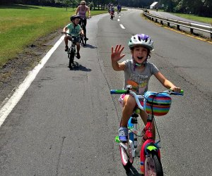 Family rides bikes in Westchester