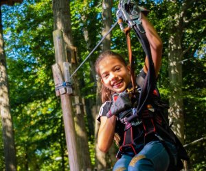 While big kids zip through the treetops, preschoolers can play in the Adventure Playground in Storrs. Photo courtesy of Adventure Park
