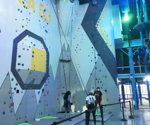 The climbing wall at Area 53 Adventure Park