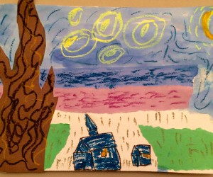 Do you have a potential Van Gogh in the family? Find out at a Long Island art class. Mixed media art interpretation of Starry Night by Henry Sumersille
