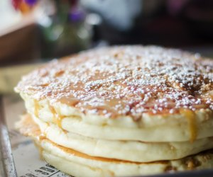 Tempt yourself with the banana crumb pancakes at The Flour Shoppe Cafe.