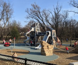 New playground equipment at Banneker Park in Arlington includes slides and a rock climbing obstacle course. Photo by the auth0r.