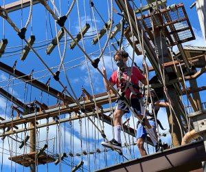 Harness in for some fun at Bayville Adventure Park's Treetop Adventure.  Photo by the author