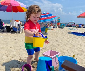 A pile of buckets goes a long way with young kids at the beach.