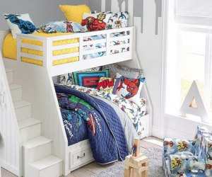 The Belden twin over full bunk bed from Pottery Barn is great for overnight guests or siblings.