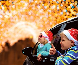 Bethel Woods' Peace, Love, and Lights is a completely drive-thru display in 2020. Photo courtesy of Bethel Woods