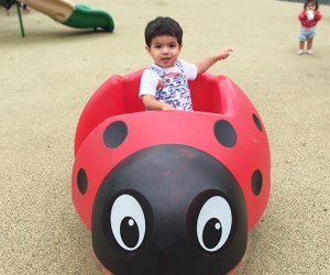 toddler in a ladybug structure on playground