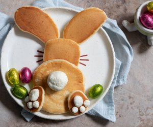 Start the day off with these sweet bunny pancakes.