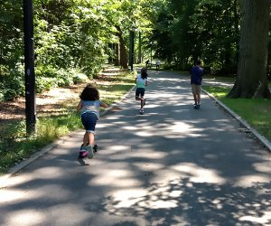 Pelham Bay Park's shady paths are great for scooting, biking, walking, or running.
