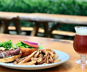 A burger fries and beer at Birdsall house